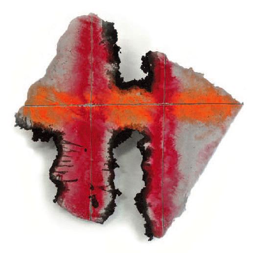 Martin Miguel : Sans titre, 2012 70 x 65 cm, ciment fibré, pigments purs, peinture noire (oxyde de noir, copeaux de bois, huile de lin, siccatif )