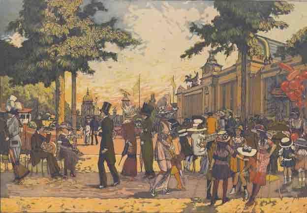 La Promenade des Champs-Élysées, 1910, eau-forte et aquatinte en couleurs 37,9 Å~ 52,9 cm Paris, Bibliothèque de l'INHA, Collections Jacques Doucet