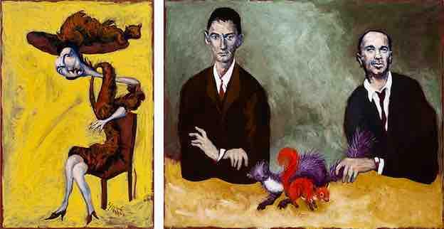 Dora Diamand, 2020. Huile sur toile, 81,5 x 54 cm. / La martre et l'écureuil (Portraits de Kafka et Chouchani), 2019. Huile sur toile, 160 x 195 cm.
