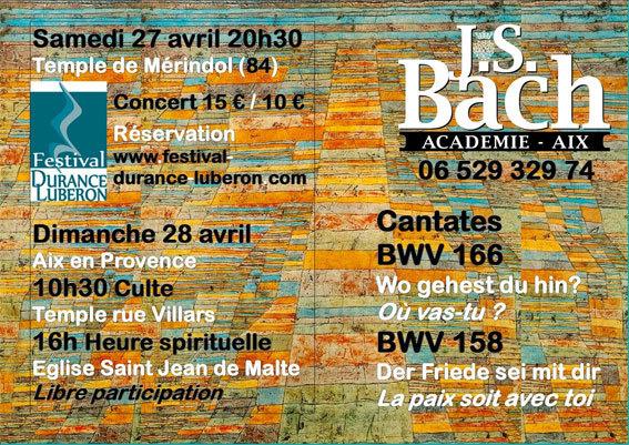 Bach en Luberon, concert au temple de Mérindol le 27 avril 2013