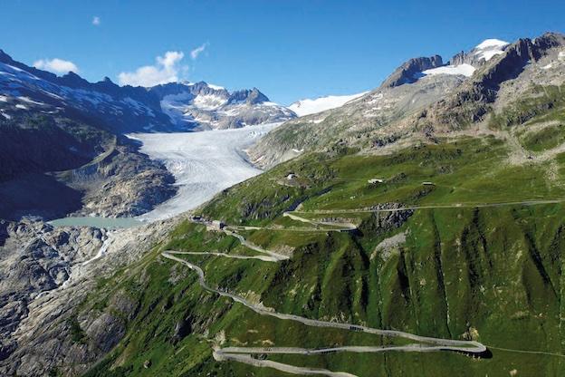 km 0 Suisse, Valais, Col de la Furka, Glacier du Rhône.