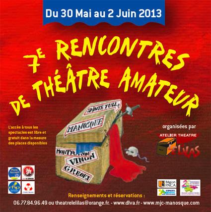 7e rencontres de théâtre amateur en Durance Luberon du 30 mai au 1er juin 2013