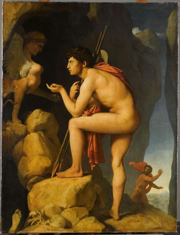 Ingres, Oedipe explique l'énigme du sphinx, 1808-1827, huile sur toile, musée du Louvre, S. Maréchalle