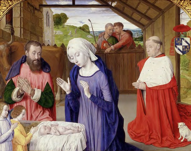 Jean Hey, Nativité au Cardinal Rolin, huile sur bois, 72,5 x 90,5 x 2,5 cm. Vers 1480 © Autun, musée Rolin