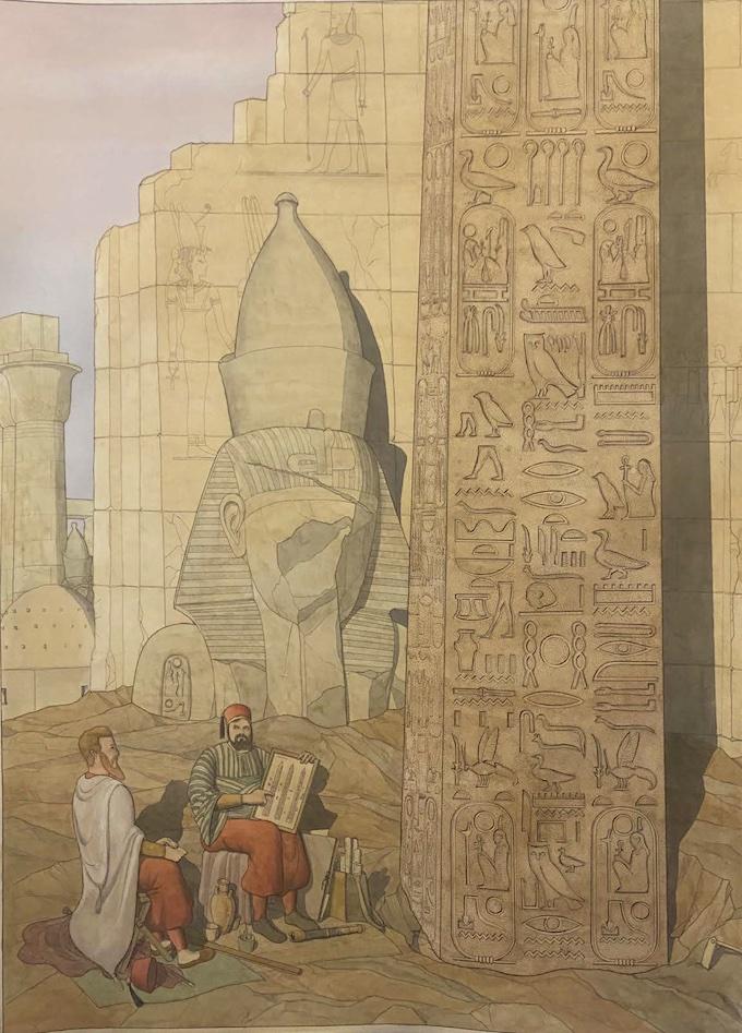 Jean-Claude Golvin, Jean-François Champollion et Ippolito Rosellini au pied de l'obélisque de Louqsor, 2021. © Département de l'Isère / Musée Champollion