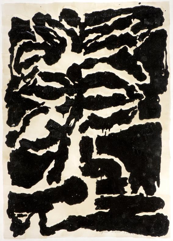 Jean-Pierre Pincemin. Empreinte , 2001. Grand bois tiré réhaussé, 166,5 x 119 cm.