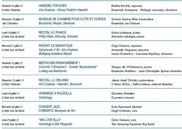 Les Nuits Musicales d'Uzès 2021 du 16 au 29 juillet 2021 - 50e anniversaire du Festival !