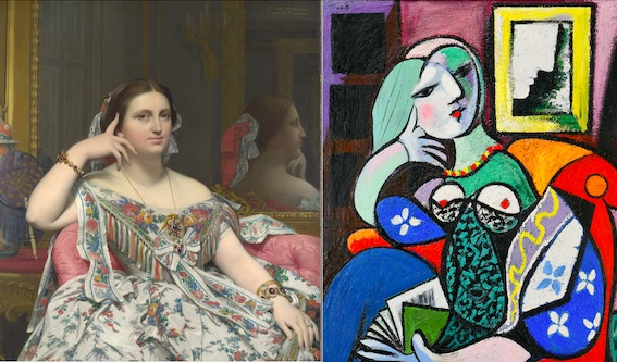 Jean-Auguste-Dominique Ingres, Madame Moitessier, 1856 Oil on canvas, 120 x 92.1 cm © The National Gallery, London  & Pablo Picasso, Woman with a Book, 1932 Oil on canvas, 130.5 x 97.8 cm The Norton Simon Foundation © Succession Picasso/DACS 2021 / photo The Norton Simon Foundation