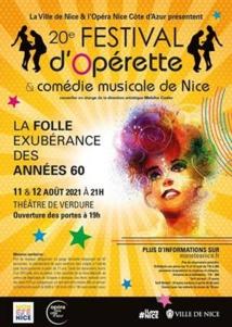 20e Festival d'Opérette & comédie musicale de Nice - mercredi 11 et jeudi 12 août 2021 à 21 heures