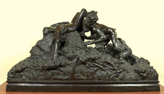 Paul Dardé, Faune guettant une nymphe, 1924, Bronze, 70x130x63, Collection du Musée de Lodève