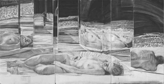 Il Miroir, fusain et graphite sur papier 195 x 387 cm, 2012