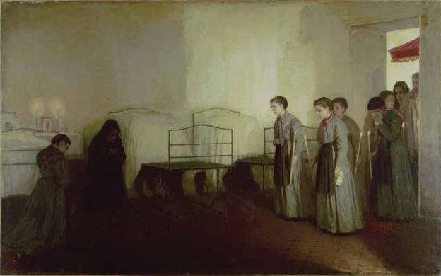 Gioacchino TOMA (1836-1891) Le Viatique de l'orpheline (Les Orphelines) 1877 Huile sur toile © Rome, Galleria Nazionale d'Arte Moderna e Contemporanea