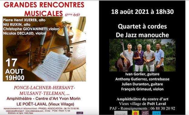 Le Poët-Laval (26) Centre d'art Yvon Morin : les concerts du 17 août et du 18 août 2021