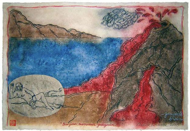 Mark Brusse, Bonjour Monsieur Gauguin VI - tempera, pastel gras et collage sur papier Hanji - 64 x 94 - 2003