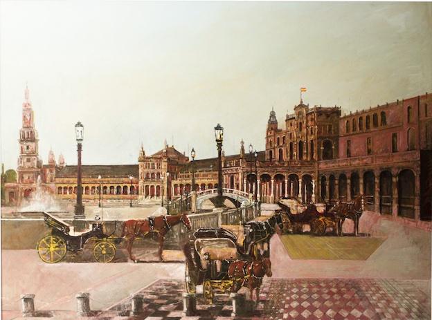 """""""Plaza de España, Séville"""". Huile sur toile. 130 x 97 cm."""