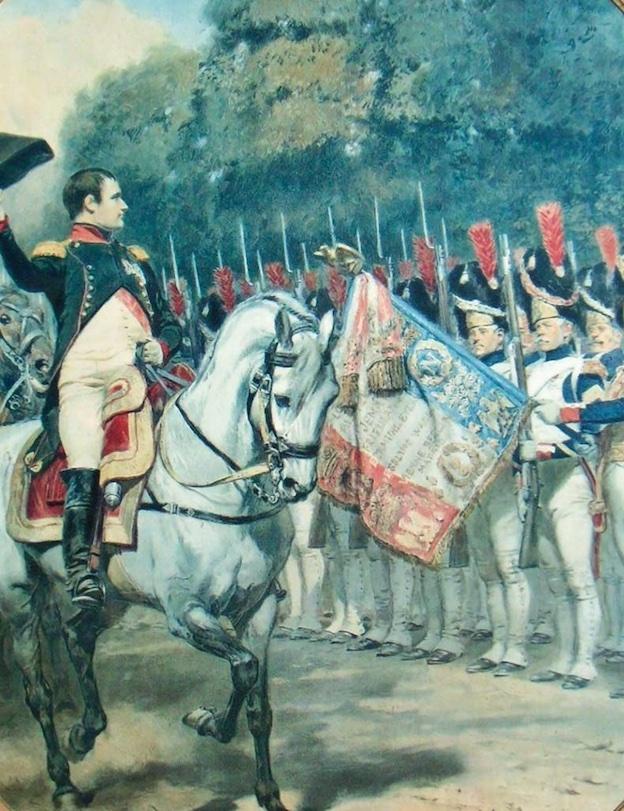 Napoléon en 1815. D'après une aquarelle d'Edouard Detaille, 1910. Estampe 70 x 59,5 cm. Musée Napoléon, Brienne-le-Château