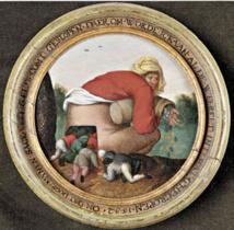 Pieter Brueghel le Jeune Les Flatteurs c. 1592 Huile sur tondo de bois ? 18,5 cm Collection privée, Maastricht