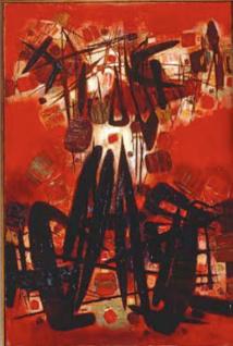 CHU Teh-Chun Rouge, la pluie de pétales sur le village Blanc, le nuage au-dessus de la maison 1960 Huile sur toile 195 x 130 cm © Adagp, Paris 2013 © Photo : Atelier CTC