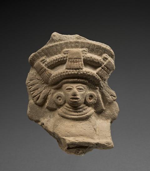 Fragment de figurine tête de divinité, 400-520 ap.J.-C. Teotihuacan¸ MRAH, Bruxelles