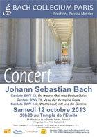 Concert : Cantates de Bach et Motets de Reger par le Bach Collegium Paris le 12 octobre 2013