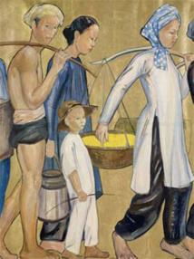 Personnages indochinois. Personnages sur fond or, douze adultes et un enfant - Marie-Antoinette Boullard-Devé, 1931. Peinture sur papier marouflée sur toile. © musée du quai Branly, photo Claude Germain