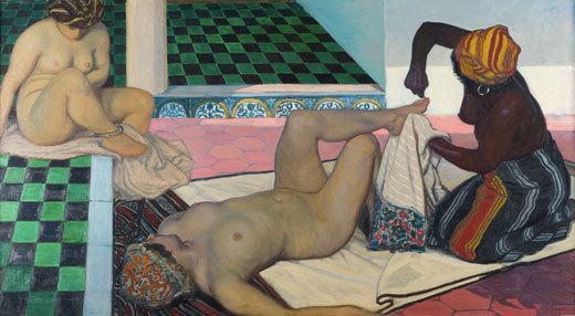Jules Migonney, Le Bain maure, 1911, Huile sur toile, 104 x 188 cm. Bourg-en-Bresse, musée du monastère royal de Brou © Bourg-en-Bresse, musée du monastère royal de Brou.