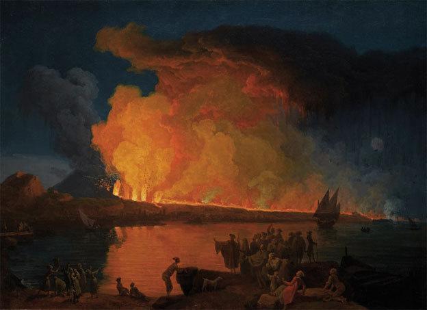 Pierre-Jacques VOLAIRE (Toulon, 1729 – Naples, ca. 1799) L'éruption du Vésuve du 15 juin 1794 Huile sur toile, H. : 66,5 x L. : 92 cm
