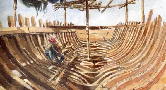 Construction de bateau omanais in Lumières d'Oman J.C Crosson, B. Le Cour Grandmaison, Gallimard, 2002 © musée national de la Marine