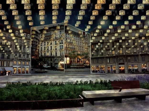 Shox Case. Place des jacobins 2e arrondissement. Réalisation : Direction de l'Eclairage Public Ville de Lyon © Ville de Lyon