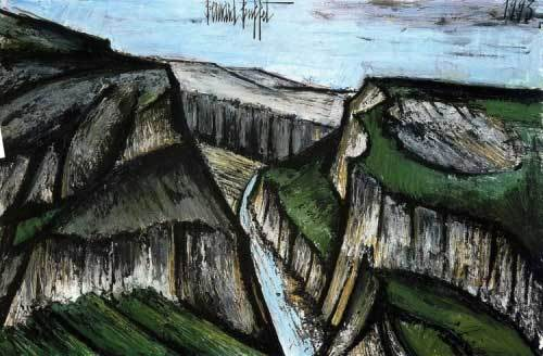 Bernard Buffet, Les gorges du Verdon, 1993 (œuvre associée à Jean Giono), huile sur toile 130 x 195 cm, collection Galerie Maurice Garnier, Paris.