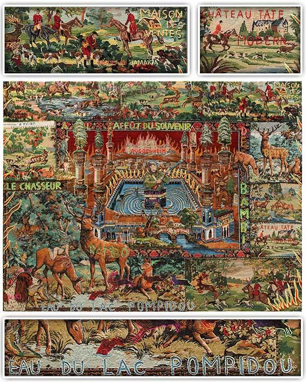 Le Chasseur à l'affût du souvenir de Bambi (ainsi que trois détails de l'œuvre) Dessins coutures et signes sur tapisseries ‐ 2013