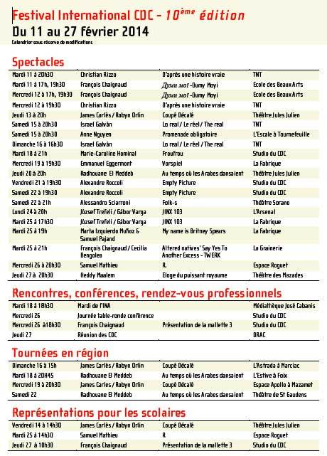 Le CDC Toulouse - Midi-Pyrénées célèbre le 10e anniversaire de son festival du 11 au 27 février 2014
