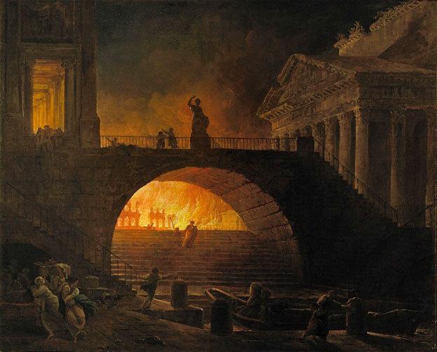 Hubert Robert, L'Incendie de Rome, vers 1770-1785 huile sur toile, 75,5 x 93 cm, Musée d'Art moderne André-Malraux, Le Havre