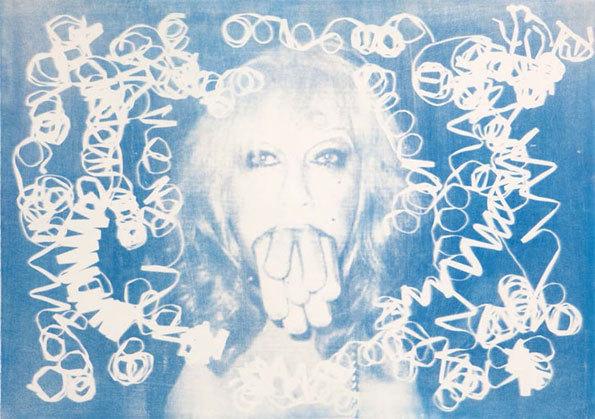 Sausages, 2013 Rayogramme de serpentins confettis et négatif papier, Procédé Cyanotype sur papier Arches 75x105 cm