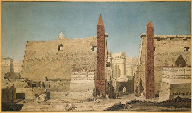 Façade du temple de Louxor, vers 1800, aquarelle. François-Charles Cécile (1766-1840). © RMN-Grand Palais (musée du Louvre)/Les frères Chuzeville