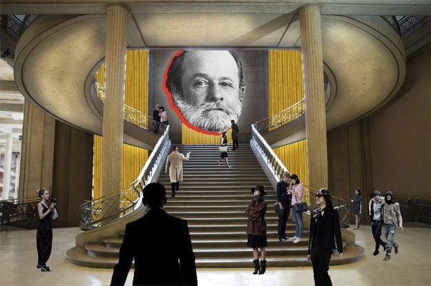 « Auguste Perret, Huit Chefs d'oeuvre !/? – Architectures du béton armé » Palais d'Iéna (L'escalier), Paris Simulation © OMA, all rights reserved