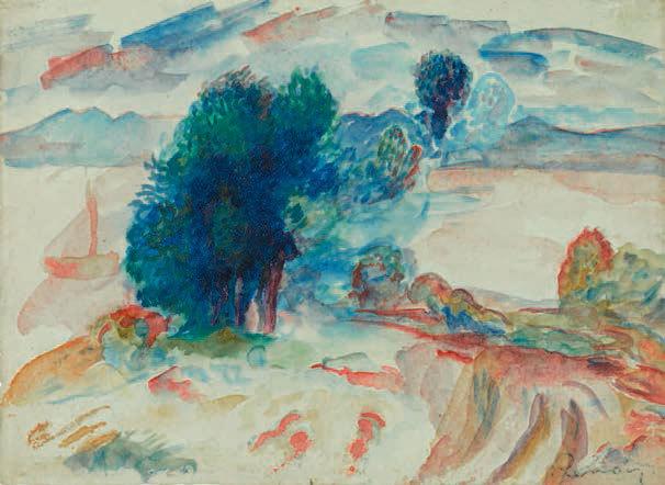 Pierre-Auguste Renoir (1841-1919) Arbres au bord de l'eau et voilier (recto) Étude d'une barque dans un étang (verso) Aquarelle sur papier, 170 x 230 mm. Cachet de la signature en bas à droite. Exécuté vers 1895.