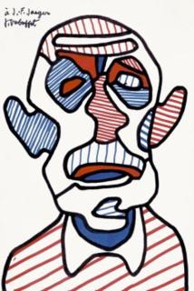 Jean Dubuffet, Autoportrait V, 1966, Dédicacé à Jean-François Jaeger Courtésie Galerie Jaeger Bucher / Jeanne-Bucher