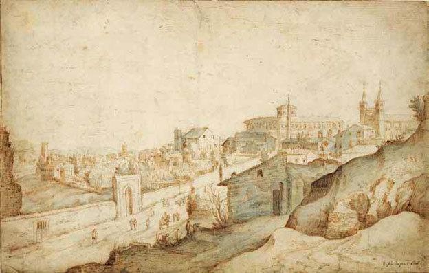 Willem Adriaensz. van Nieulandt II Vue de Rome depuis la route menant à la basilique de Saint-Jean-de-Latran