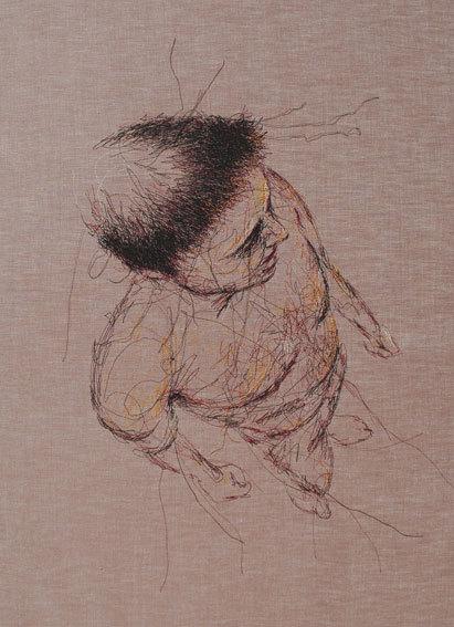 Elodie Sabardeil. « Terre des Hommes », fils sur coton et châssis,  65/90 cm, 2011