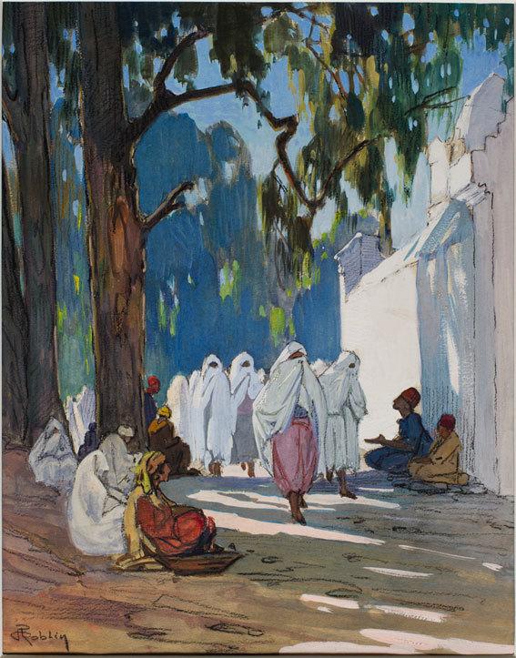 Pierre Roblin, Un vendredi, jour des femmes au cimetière arabe, Alger. Début XXe siècle.