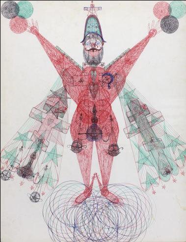 DOM031 | Janko Domsic, sans titre | circa 1975 | stylo bille sur papier | 63 x 49.5 cm