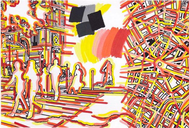 Gérard Fromanger,   Dérivés dyptique, 2007. Digigraphie, 200 x 300 cm