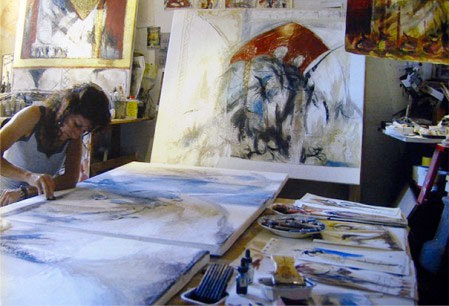 Nathalie Verdier en son atelier © DR