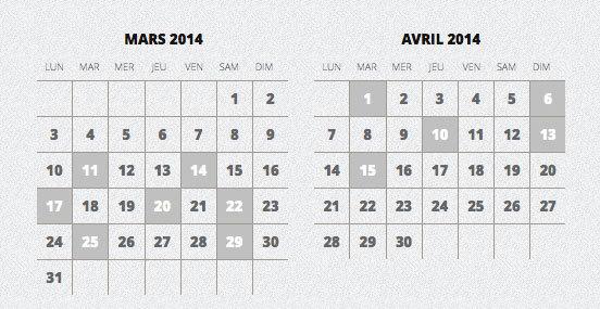 Réservation en ligne en cliquant sur le calendrier des représentations