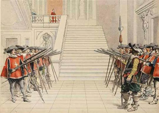 La garde de Richelieu lui rend les honneurs, estampe de Maurice Lenoir. 1910. © Paris – musée de l'Armée. Dist. RMN-GP
