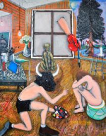 Tableau à la croix, 2013-2014 Huile sur toile 285 x 250 cm © Rebecca Fanuele Courtesy Galerie Patricia Dorfmann, Paris