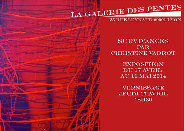 Christine Vadrot, Survivances. exposition à la Galerie des Pentes, Lyon, du 17 avril au 17 mai 2014