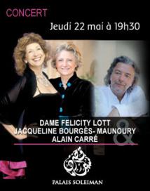 Dame Felicity Lott, Jacqueline Bourgès-Maunoury et Alain Carré présentent « Hugo en mélodie », Jeudi 22 mai à 19h30 au Palais Soleiman, Marrakech