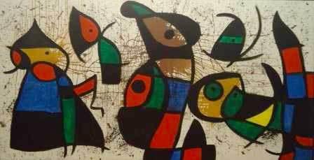 Personnages et oiseaux, 1974-1976 Huile sur toile, 162 x 315cm Collection particulière, Suisse